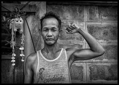 guard of the parking lot in Bang Rak, Bangkok