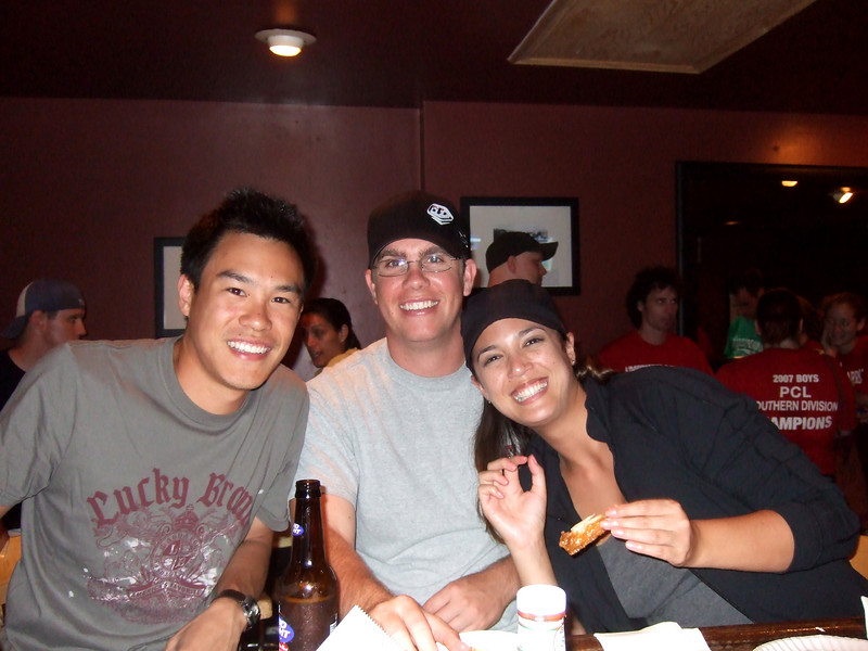 Me, James and Dewi putting down 40 wings and bud