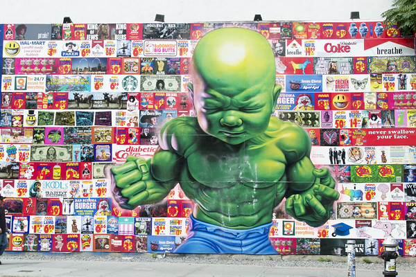 """Temper Tot"" is a mural by Ron English. Perhaps one of the best murals I've ever seen in NYC. There's so much going on, so much great humor, so vivid, so beautiful. I only wish I had a 10th of this guy's artistry! Go see this and spend an hour taking it all in."