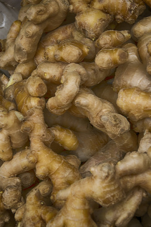 Pile of ginger root