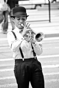 Young Trumpeter in Black and White