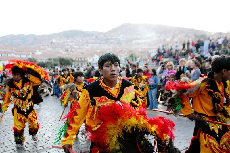 A parade in the Plaza de Armas - Cusco, Peru