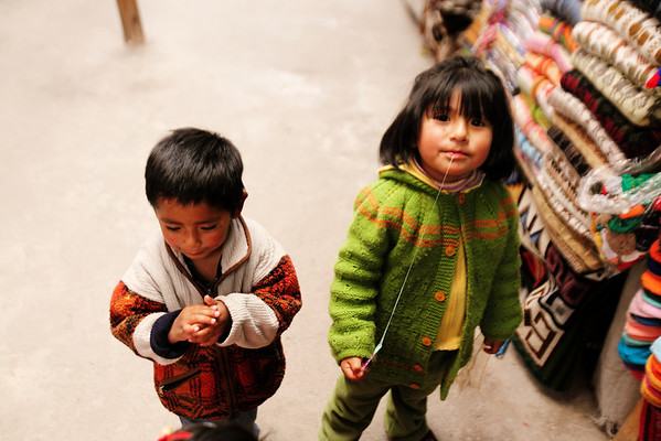 Cusco Market Rug Rats - She was sharing gum
