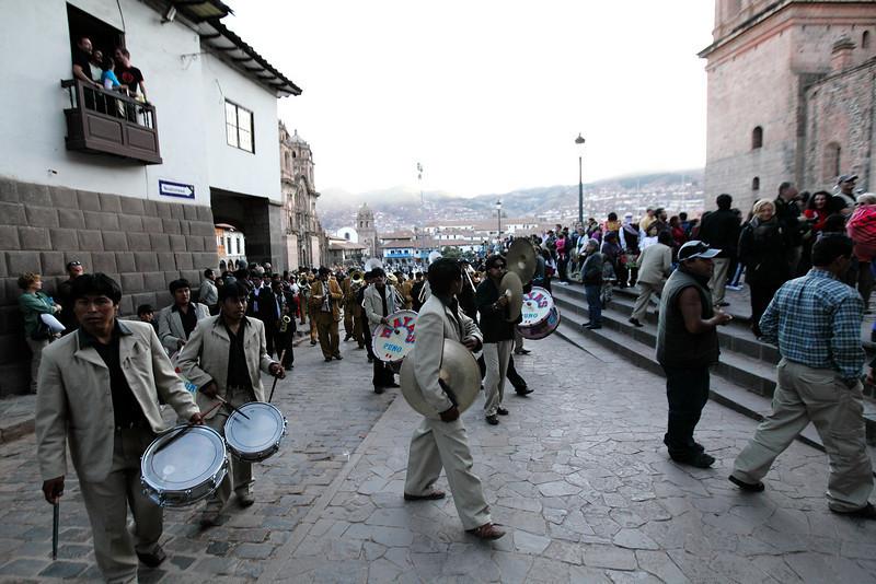 The band - A parade in the Plaza de Armas - Cusco, Peru