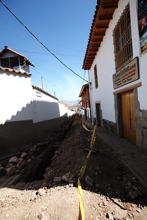 Traffic Control - Cusco, Peru<br /> This street was untouched..we left for the Jungle....3 days...and come back to this.