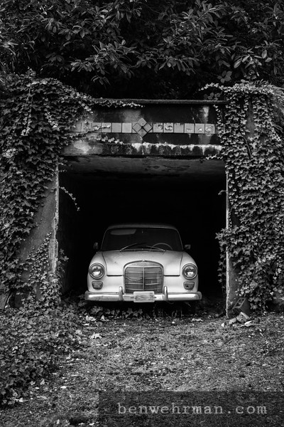 Old Car in an Overgrown Driveway.