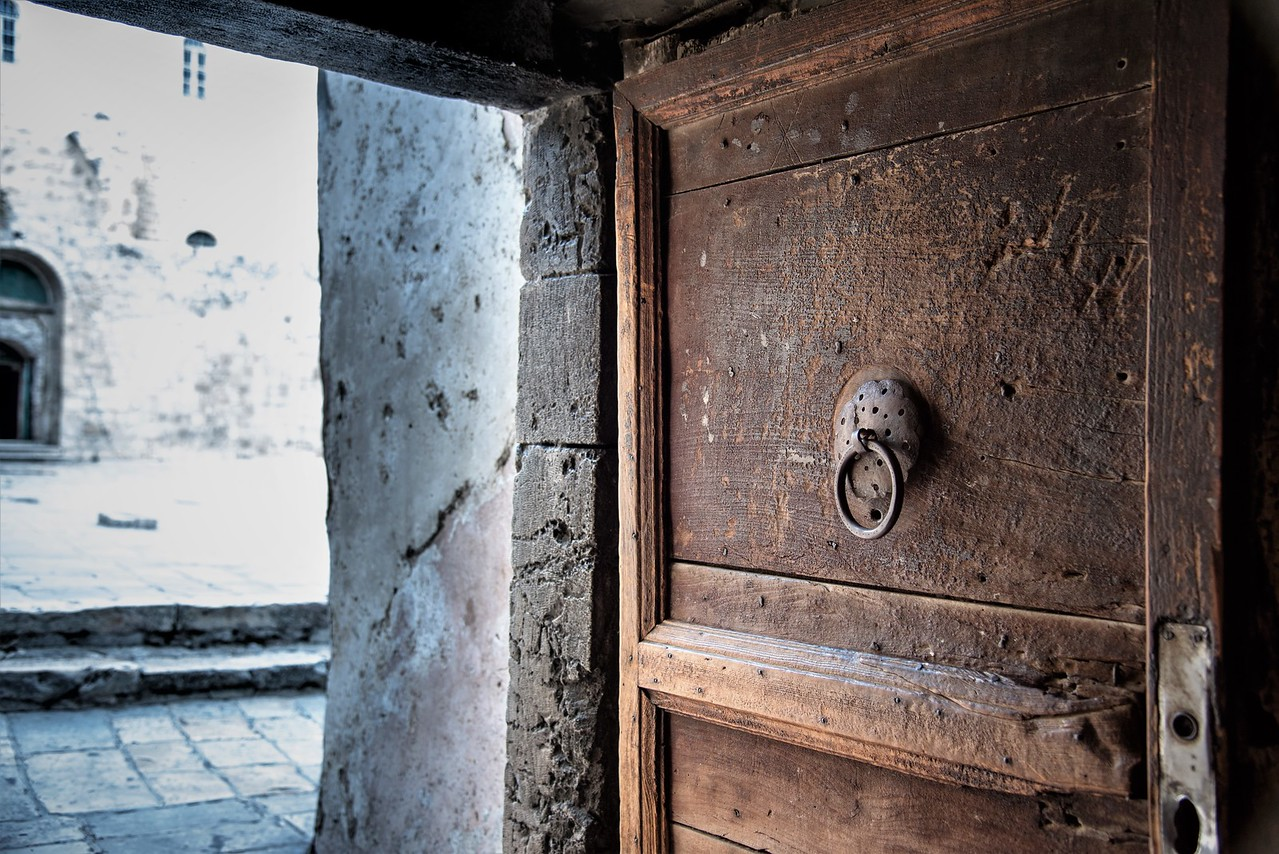 Door in church of church of holy sepulchre Jerusalem Old City