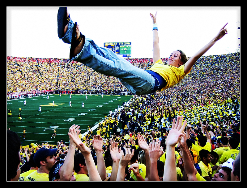 Touchdown Tossing  Big House celebration of a late fourth-quarter Michigan touchdown against Wisconsin (Score: 27 to 19)  Michigan Stadium University of Michigan, Ann Arbor  27-SEP-2008