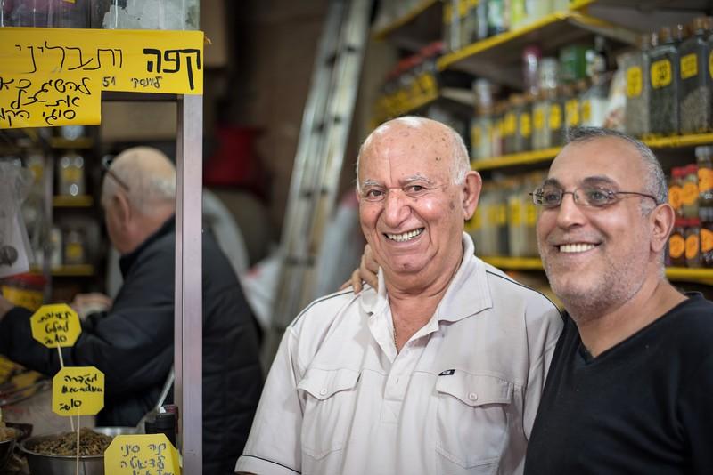 Men at market in Tel Aviv