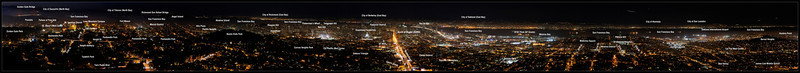 Annotated San Francisco Nighttime Panorama   San Francisco, California   06-SEP-2010