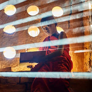 A young Buddhist monk in Myanmar