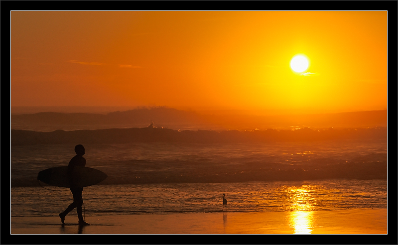 Surfer's Waves at Sunset   Natural Bridges State Beach Santa Cruz, California  23-JAN-2011