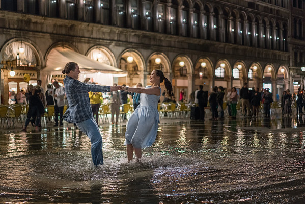 "Dancing in Piazza San Marco during ""acqua alta"" which flooded the square with over two feet of water just after midnight on May 11, 2017."