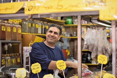 Man at market in Tel Aviv