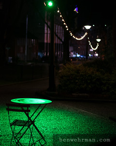 Chair and table in the city