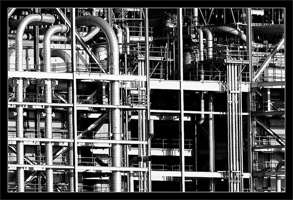 Pipes of Gas & Water  A complex network of pipes supplies natural gas and ocean water to the steam boilers in the Moss Landing Power Plant  (Monterey Bay region) Moss Landing, California  18-APR-2010