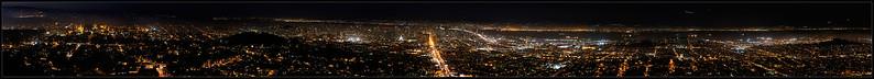San Francisco Nighttime Panorama Labor Day evening  San Francisco, California  06-SEP-2010