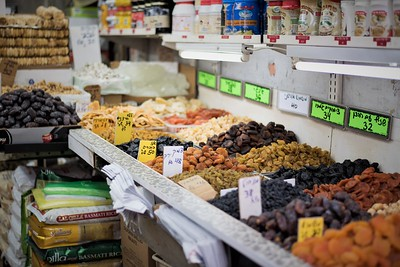 Market in Tel Aviv with nuts and dates