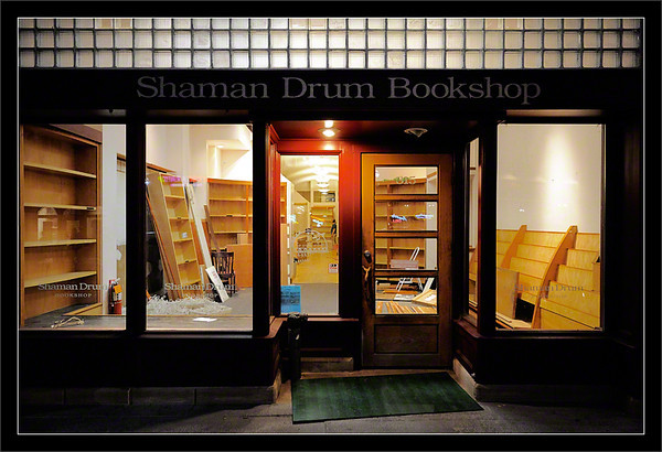 Empty Shelves: Shaman Drum  The Shaman Drum Bookshop empties its shelves and prepares to close the business after 29 years.  The bookstore was a landmark on State Street for University of Michigan students and Ann Arbor residents.  Ann Arbor, Michigan  25-JUL-2009