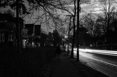 Light trails, Elm St, mono