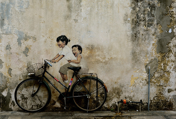 'Little children on a bicycle' - Georgetown, Penang