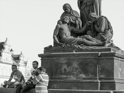 Tourists and the Pieta on the Charles bridge.