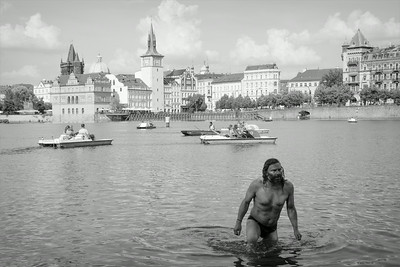 Swiming in Vltava Prague centre