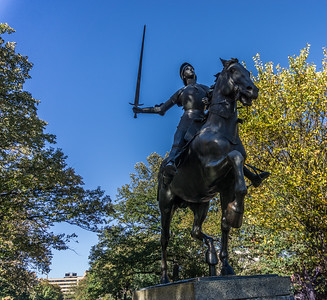 "This Joan of Arc statue  was a gift from the ""Ladies of France in Exile in New York"" in 1922.  It is a bronze copy of an 1889 statue by Paul Dubois. The original is at the Reims Cathedral in France. This is the only equestrian statue in Washington to depict a woman on horseback."