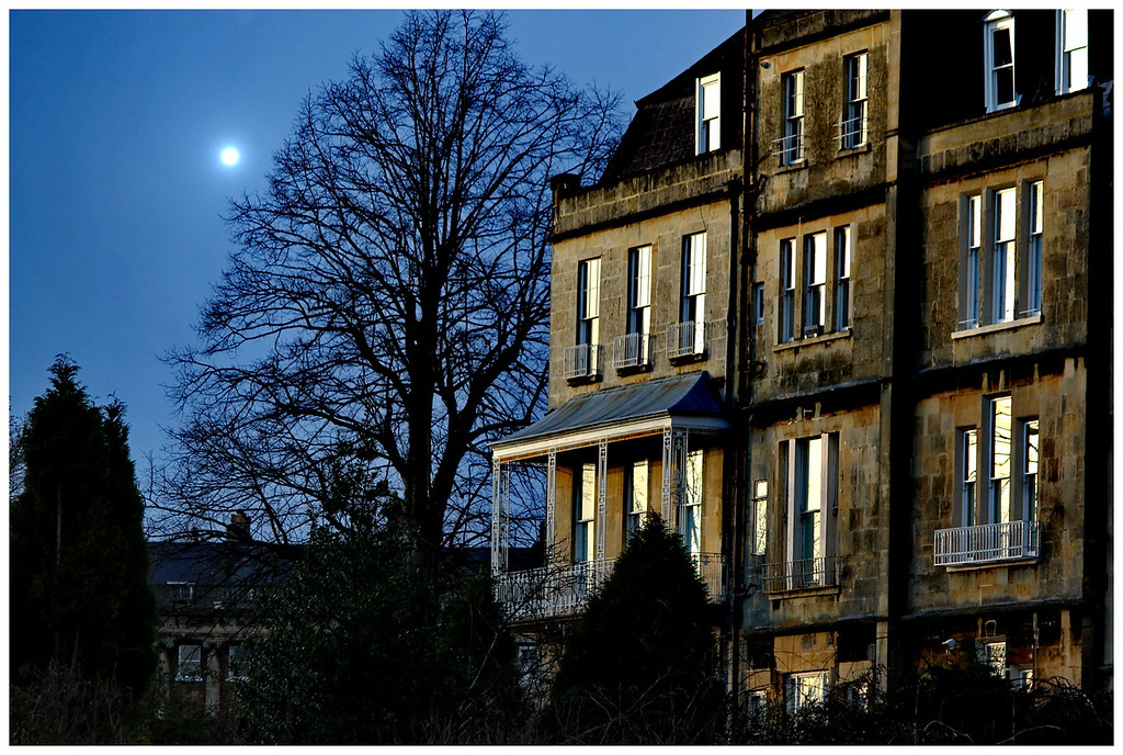 Moonrise over Brock Street and the Royal Crescent