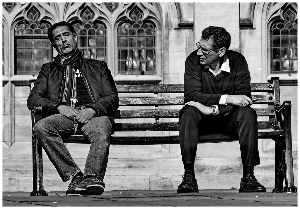 Snoring Man and Irritated Guy - Abbey Yard Bath