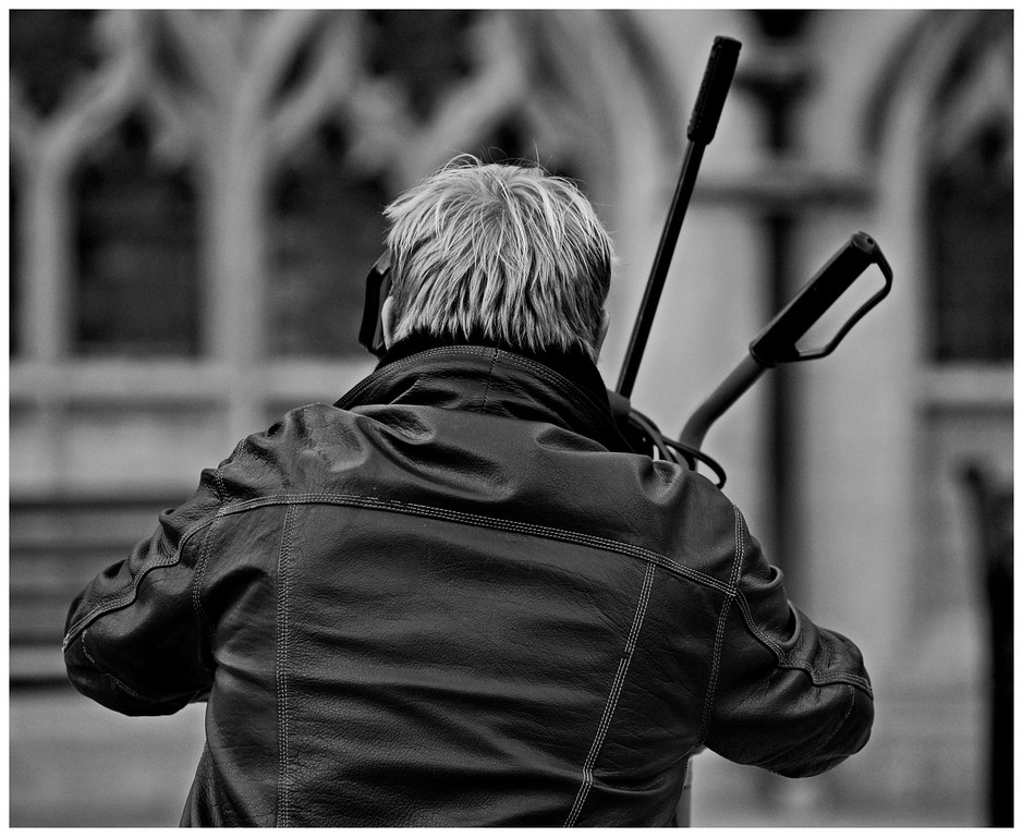 Busker and his Equipment - Abbey Yard Bath