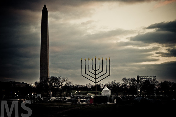 Hanukkah with the monument in the background. Washington D.C
