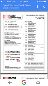 Today's schedule.  Racing at 4:50 p.m.