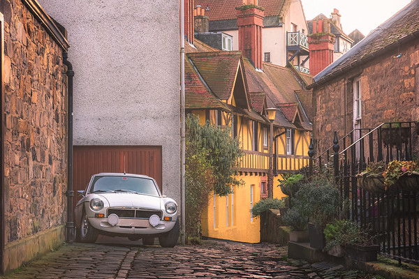 Classic Car in Dean Village. Edinburgh, Scotland
