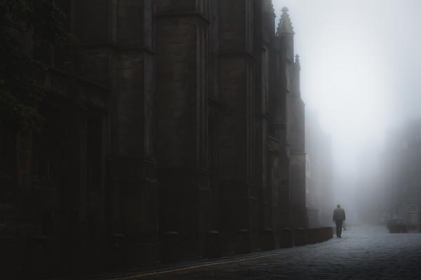 Shadowy Royal Mile. Edinburgh, Scotland