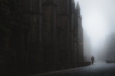 Shadowy Royal Mile. Edinburgh, Scotland