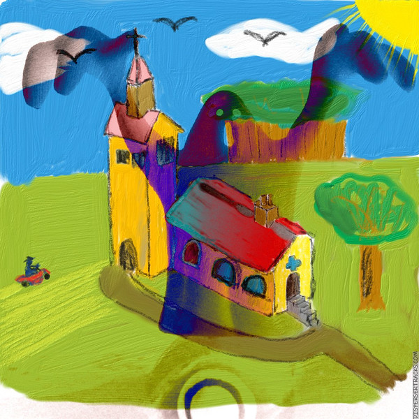 Church Grounds doodle and Ghost finger puppet mix