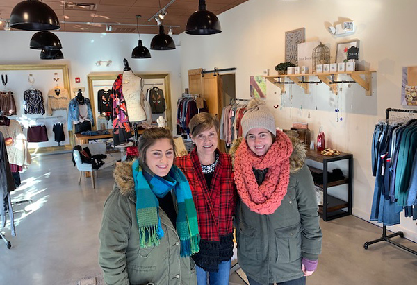 . Donna Theone of Chelmsford, center, owner of the Wish pop-up store at 3rd Avenue, with Dacey�s nieces, Despena Zouzas, left, and Soteria Zouzas, both of Chelmsford