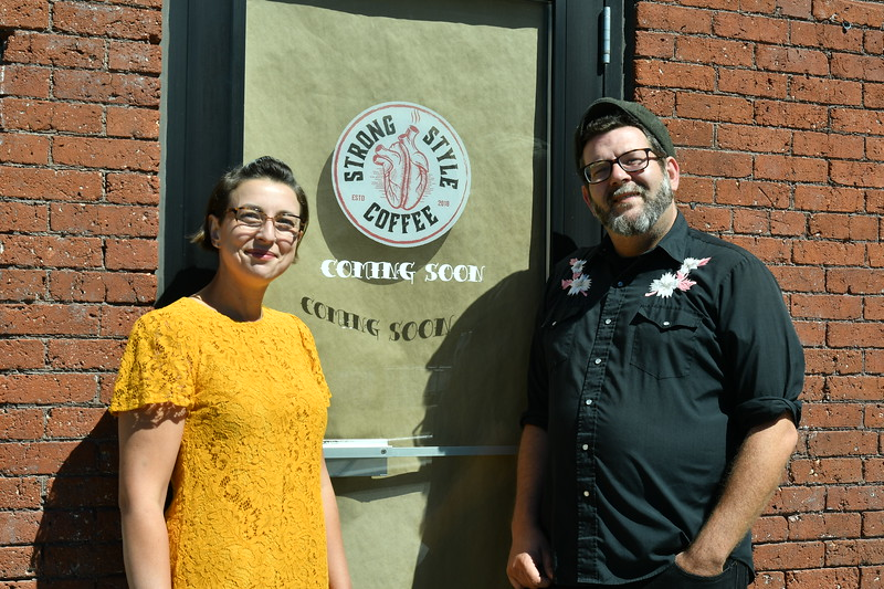 Kim Jones and Eirean Bradley are shown outside their Coffee shop tha will open soon on Boulder Drive in Fitchburg.<br /> Sentinel & Enterprise / Jim Fay