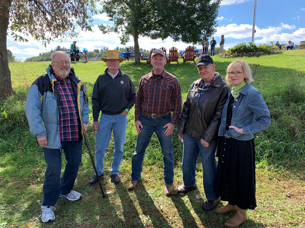 . From left, Strongwater Farm board President David Wahr of Andover, Jim Lane of Melrose, Charlie Gaffney of Tewksbury, and Jay and Mary Gaffney of Lowell