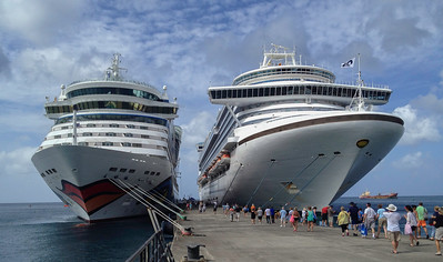 Two Cruise Ships Tied to the Pier