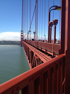Golden Gate Bridge to foggy San Francisco