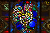 Rooster in stained glass.