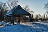 Picnic shelter on a frosty morning