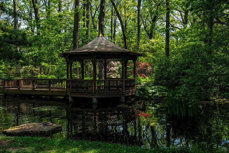 Pond Gazebo surrounded by spring blooms