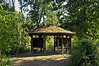 Gazebo with a green roof