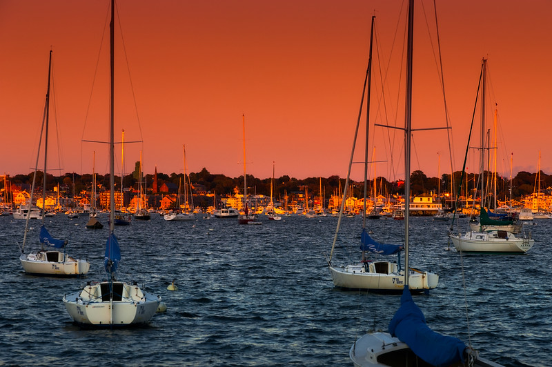 Sunrise, Newport bay, Rhode Island