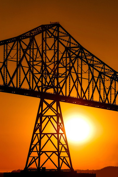 Sunset and Silhouette at the Astoria Bridge, Oregon.<br /> © Douglas Remington - Ethereal Light Photography, LLC. All Rights Reserved. Do not copy or download.