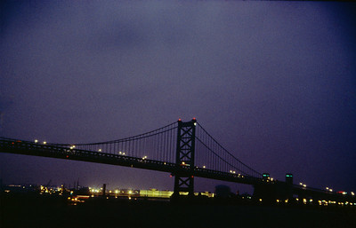 Ben Franklin Bridge from Penn's Landing at night