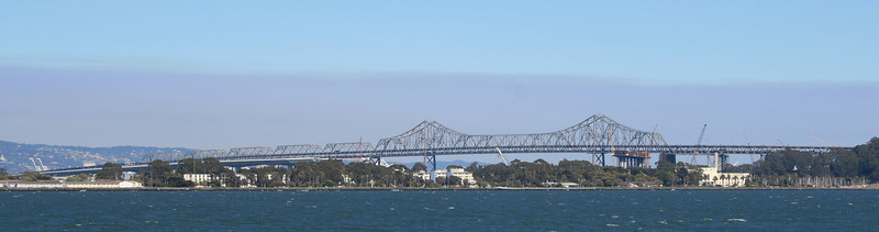 San Francisco-Oakland Bay Bridge, Eastern Span.  Treasure Island in the foreground.
